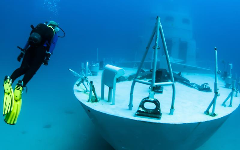 Diver on shipwreck off Malta