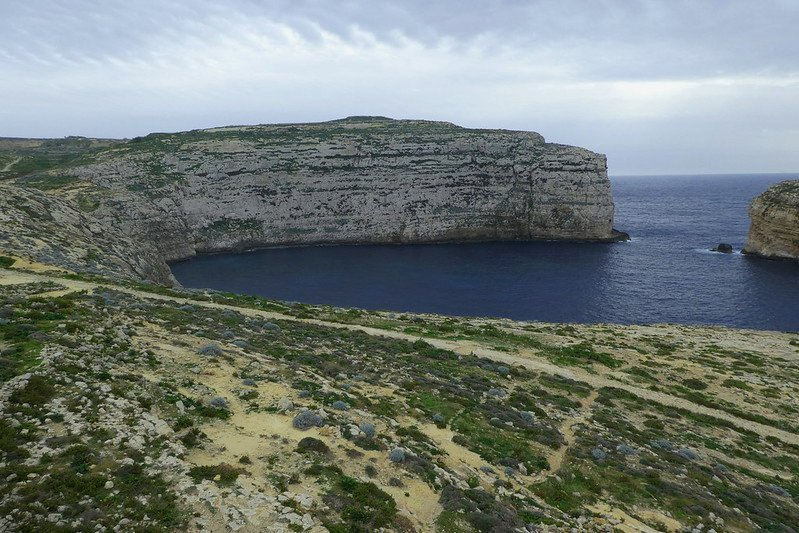 Looking southwest over fungus rock in gozo