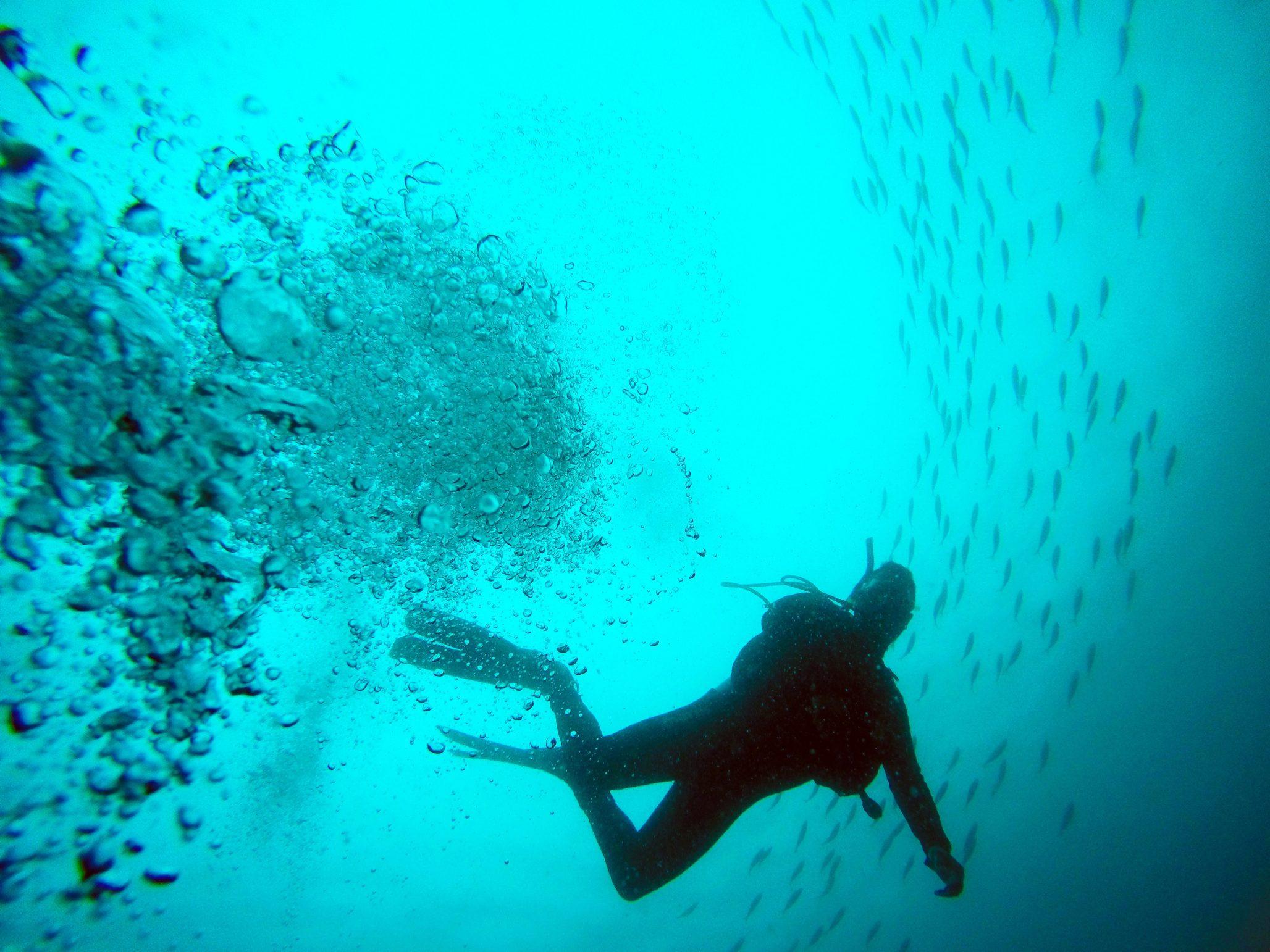 Scuba diver mid water off Gozo